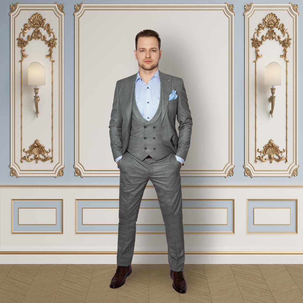 Kensington Grey Check 3 Piece Suit in Wool Blend