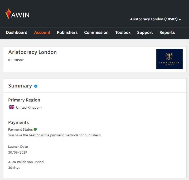 AWIN affiliates programme