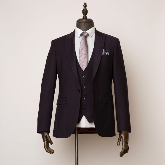 Bloomsbury burgundy 3 piece suit 1 555x555