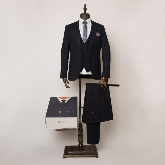 Weybridge Blue Black 3 Piece Suit