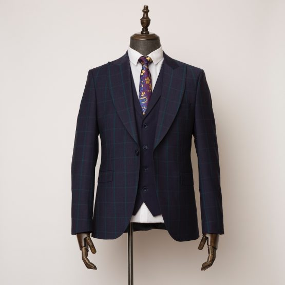 Wimbledon navy green 3 piece suit 1 555x555