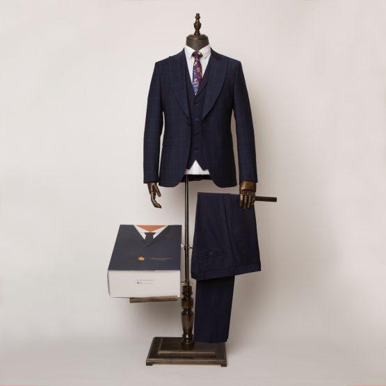Wimbledon Navy & Green 3 Piece Suit