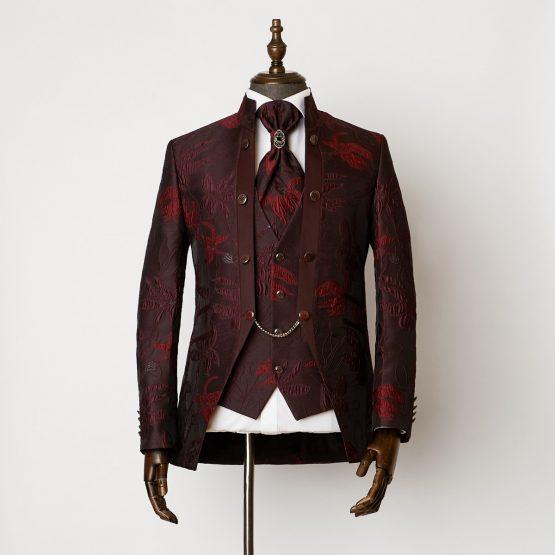 Angel Red 3 Piece Nehru Suit 0301 B2L 555x555