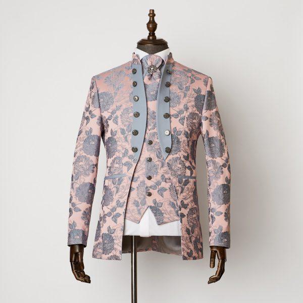 Brighton Pink Grey 3 Piece Nehru Suit 0701 B1L 600x600