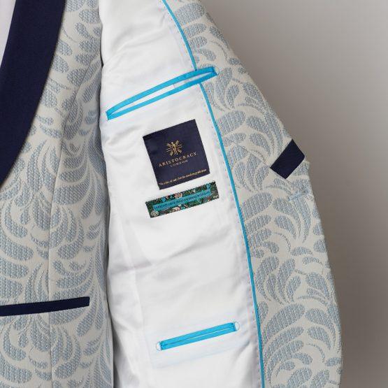 Dorset Cream & Blue 3 Piece Tuxedo