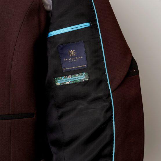 Hale 3 Piece Burgundy & Black Tuxedo