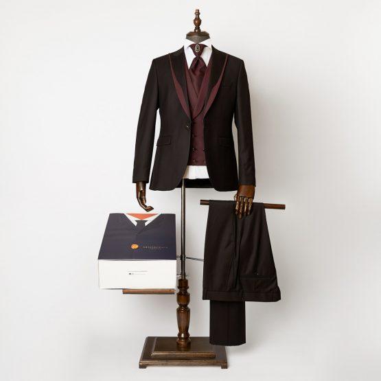 Hampton Black Burgundy 3 Piece Suit
