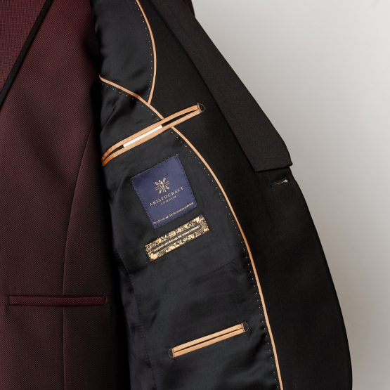 Hampton Black Burgundy 3 Piece Suit