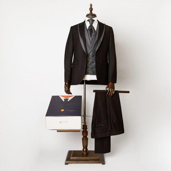 Hampton Black Grey 3 Piece Suit