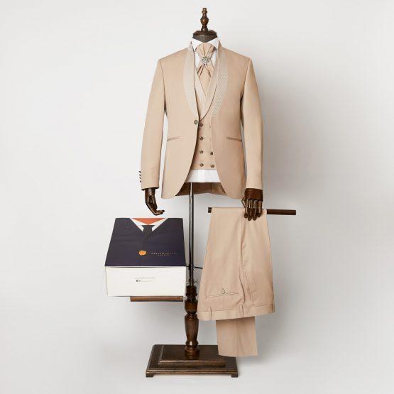 Radlett Beige 3 Piece Nehru Suit 1102 B1L 555x555