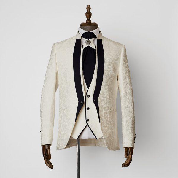 Truro White Navy 3 Piece Nehru Suit 1501 B1L 600x600