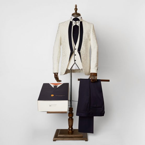 Truro White & Navy 3 Piece Nehru Suit