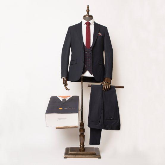 Leyton Navy & Burgundy 3 Piece Suit