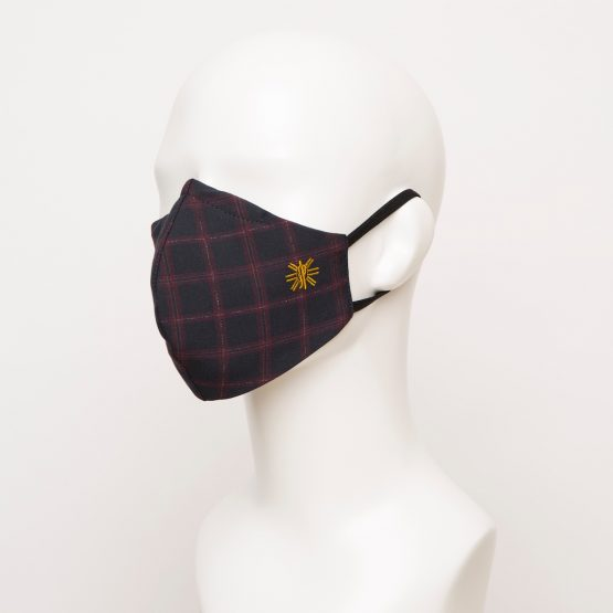 Navy Burgundy Windowpane Curved Face Mask 1 24891 555x555