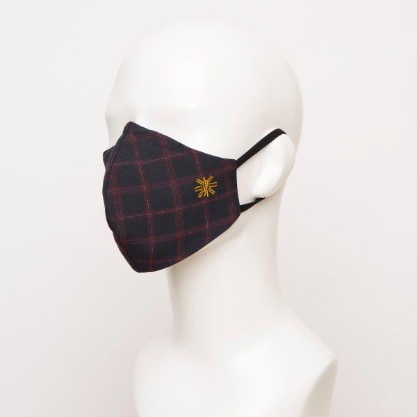 Navy Burgundy Windowpane Curved Face Mask 1 24891 600x600