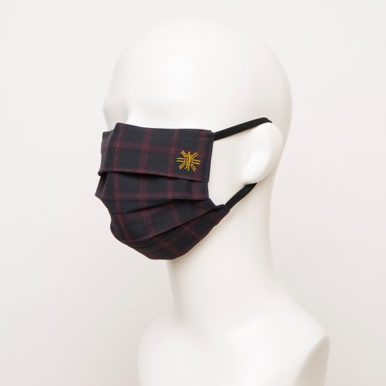 Navy Burgundy Windowpane Pleated Face Mask 1 24943 555x555