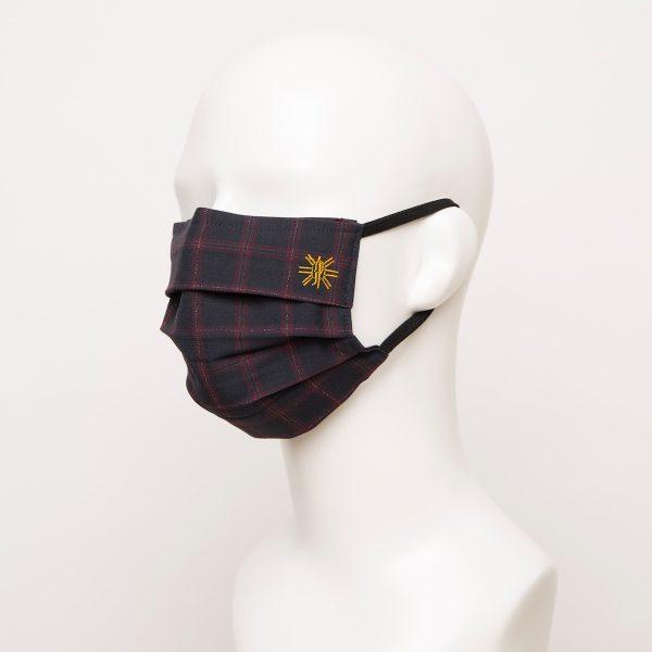 Navy Burgundy Windowpane Pleated Face Mask 1 24943 600x600