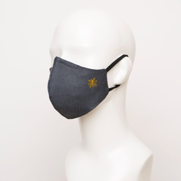Navy Polka Dot Curved Face Mask 1 24889 600x600