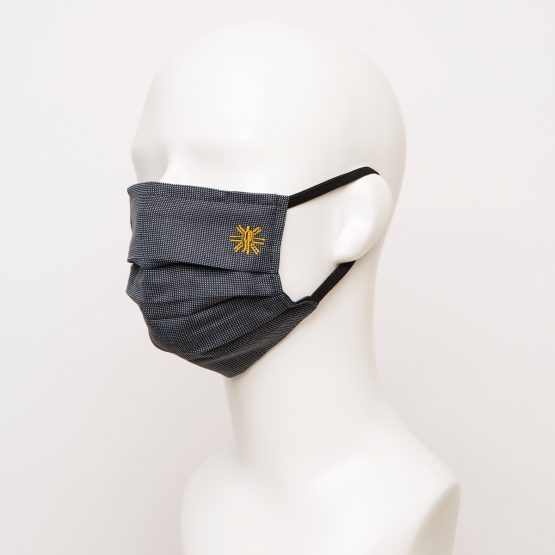 Navy Polka Dot Pleated Face Mask 1 24930 555x555