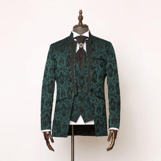 Lancaster Green Black 3 Piece Nehru Suit 1 555x555
