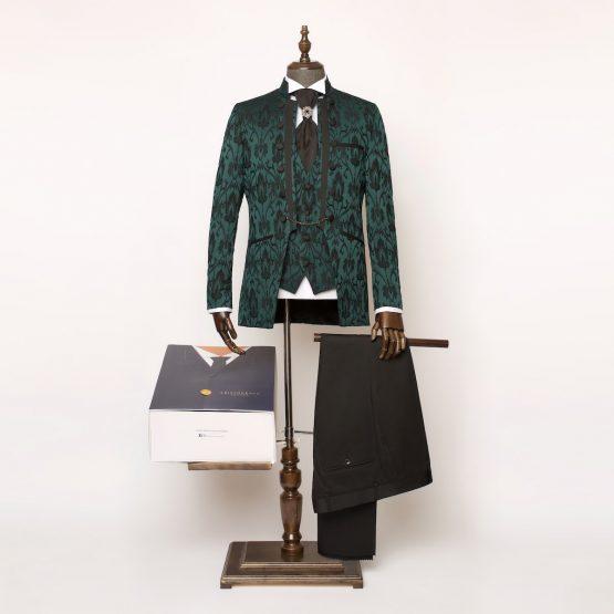 Lancaster Green & Black 3 Piece Nehru Suit