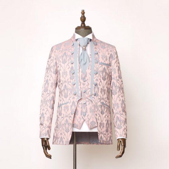 Lancaster Pink Grey 3 Piece Nehru Suit 1 555x555