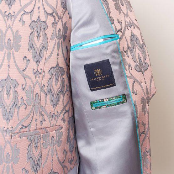 Lancaster Pink & Grey 3 Piece Nehru Suit