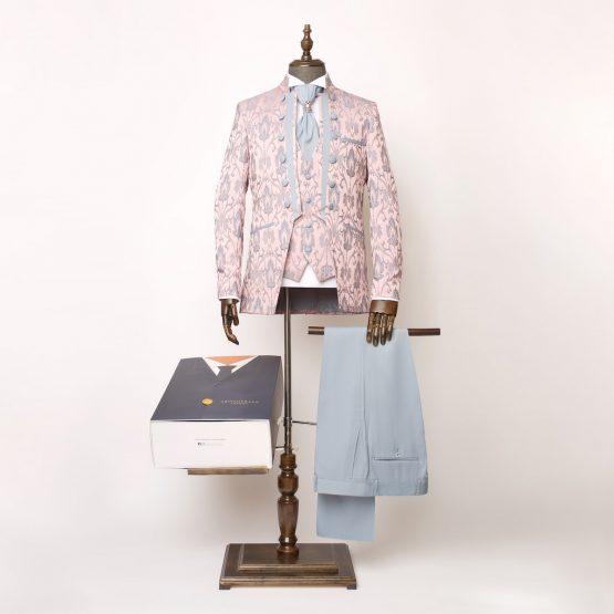 Lancaster Pink Grey 3 Piece Nehru Suit 4 555x555