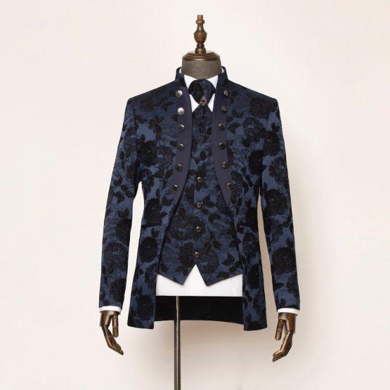 Brighton Blue 3 Piece Nehru Suit 1 555x555