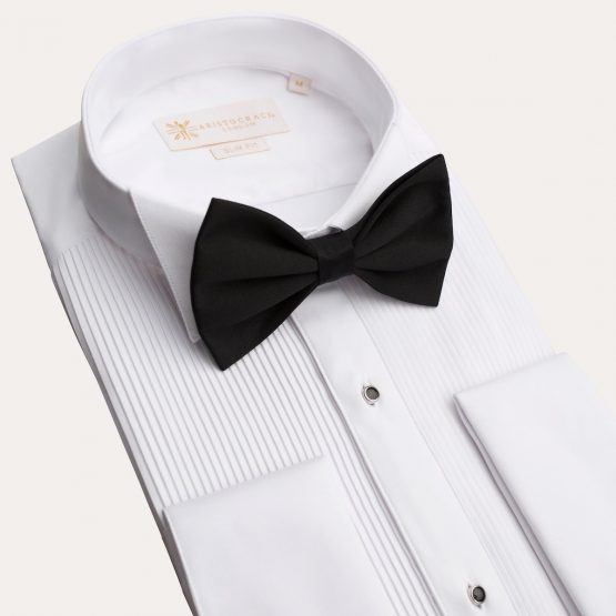 White Pleated Tuxedo Shirt with Studs 2 555x555