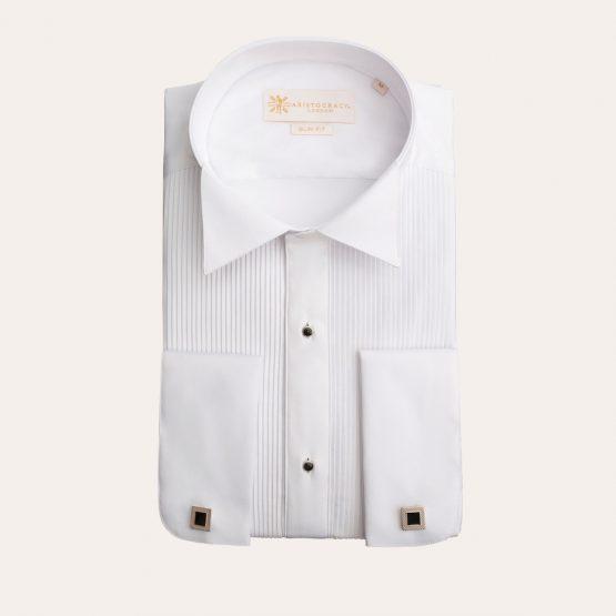 White Pleated Tuxedo Shirt with Studs 3 555x555