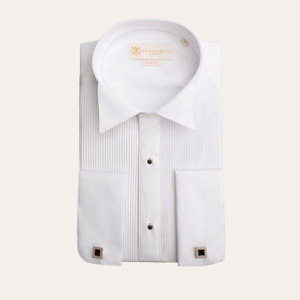 White Pleated Tuxedo Shirt with Studs 3 600x600