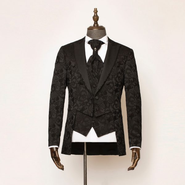 Windsor Black 3 Piece Short Tailcoat Suit 1 600x600