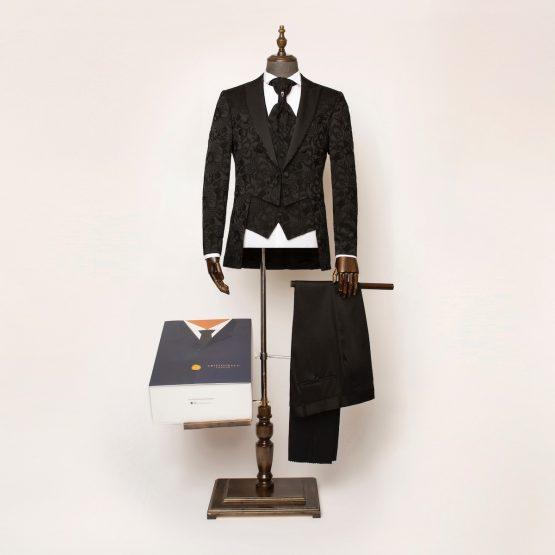 Windsor Black 3 Piece Short Tailcoat Suit